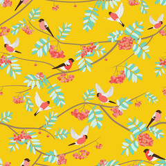 Bullfinches on mountain ash, fly, sit. seamless pattern. orange colors, warm colors