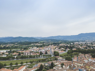 Lucca city. Aerial view. Italy. View from above