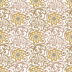 Seamless rich floral wallpaper on white background