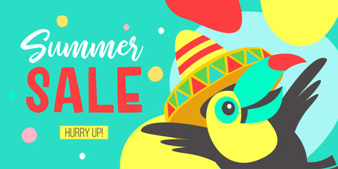 Big summer sale. Bright vector poster. Cheerful Toucan with  invites you to a sale.
