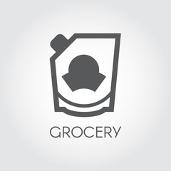 Grocery glyph icon. Mayonnaise, ketchup, doypack or mustard flat label. Food series button. Vector illustration for product stores, retail, price list and other cooking thematic sites and mobile apps
