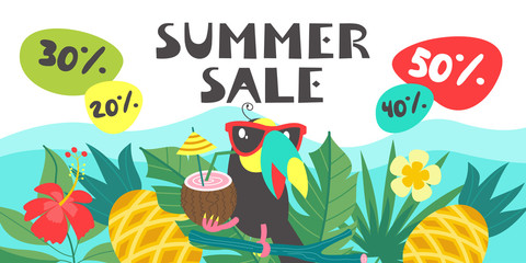 Summer sale. Bright colorful advertising poster. Cheerful Toucan, tropical leaves and fruit. Illustration in cartoon style.