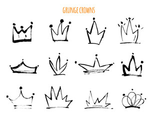 Grunge hand drawn crowns Isolated black icons. Strokke Vector illustration for modern design