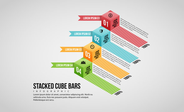 Stacked Cube Bars Infographic