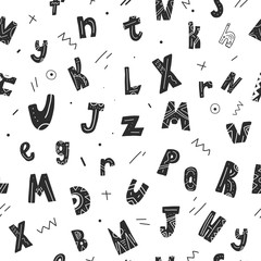 Typography seamless pattern with letters in tribal style