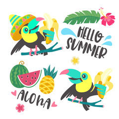 Hello summer. Aloha. Cute funny cartoon Toucan. Tropical paradise. Vector illustration.