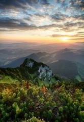 Fototapete - Sunrise on mountain at summer