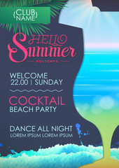 Hello summer holidays. Disco summer party poster with cocktail