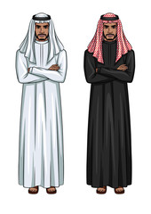 Vector cartoon style characters of two arabian men standing with arms crossed on the chest. Illustration of young arabic businessmen wearing traditional clothes black and white colors.