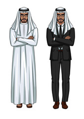 Vector set of two modern arabian businessmens  standing with crossed arms isolated from white background. Arabian man wearing traditional clothes standing in front