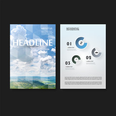 Modern Style Tiled Flyer or Cover Design for Your Business with Landscape and Sky View Image - Applicable for Reports, Presentations, Placards, Posters - Creative Vector Template