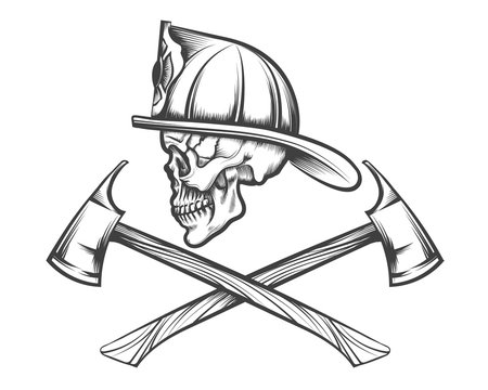 Skull in Fire Helmet and Axes