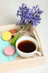 flowers, tea and macaroons