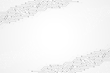 Abstract technology background with circuit board texture. Graphic design electronic motherboard. Communication and engineering concept. Vector illustration.