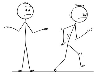 Cartoon stick drawing conceptual illustration of angry man or businessman leaving vigorously conversation with other man.