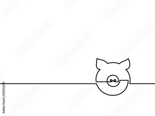 One Continuous Line Drawing Pig Vector Chinese New Year