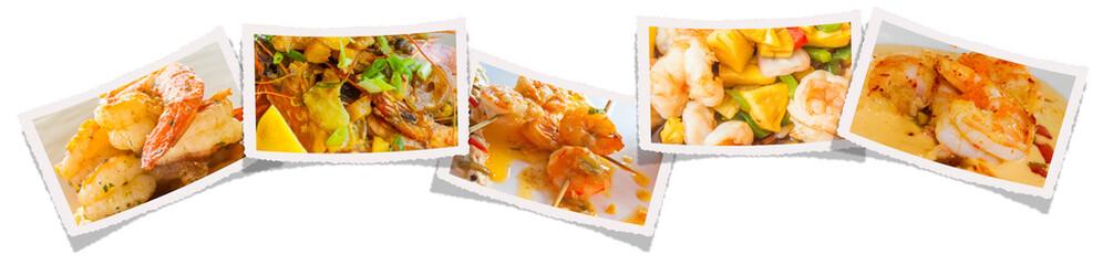 gambas et crevettes cuisinées