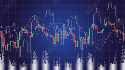 candlestick chart in financial stock market vector illustration on