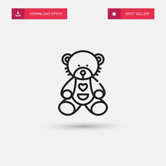 Outline Teddy Bear Icon isolated on grey background. Modern simple flat symbol for web site design, logo, app, UI. Editable stroke. Vector illustration. Eps10