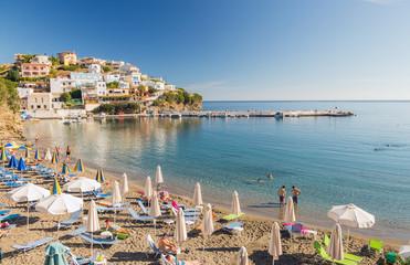BALI, CRETE, GREECE, Beach, sea, pier and villas on the beach