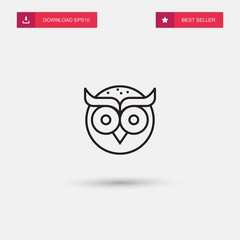Wall Murals Owls cartoon Outline Owl Icon isolated on grey background. Modern simple flat symbol for web site design, logo, app, UI. Editable stroke. Vector illustration. Eps10