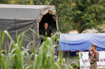 A military vehicle arrives at the Tham Luang cave complex in the northern province of Chiang Rai