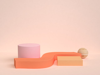 3d rendering orange scene abstract geometric shape