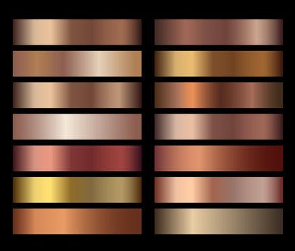 Bronze foil texture gradients templates set