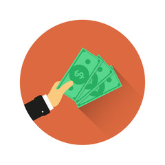Hand holds money. Monetary currency. Paper money vector icon.