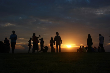 June 6, 2018, Hat Yai, Songkhla Province. Silhouet people watch the mountain view to see the sun and the beautiful sky.