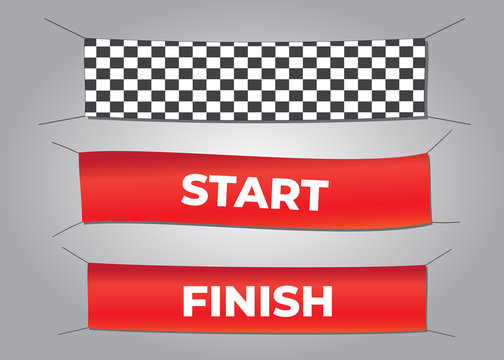Start and finish textile banners vector set. Flag sport race, competition finishing. Start and finish vector