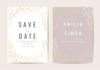 Vintage Luxury Wedding invitation card vector design collection