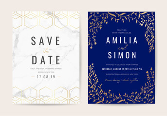 Vintage Luxury Wedding invitation card vector design collection