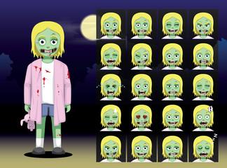 Zombie Girl Cartoon Emotion faces Vector Illustration