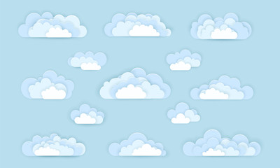 Vector set of cloud icons in paper art style. Cloud signs isolated on background. Origami paper cut design.
