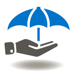 Hand hold umbrella icon vector. Law justice protection illustration. Insurance Logo. Safety Symbol.