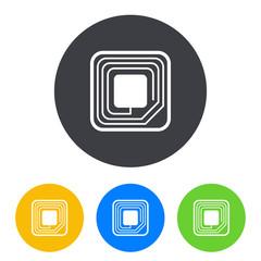 Icono plano etiqueta RFID en circulo varios colores
