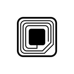 Icono plano etiqueta RFID en color negro