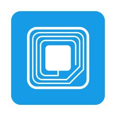 Icono plano etiqueta RFID en cuadrado azul