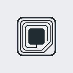 Icono plano etiqueta RFID en fondo gris