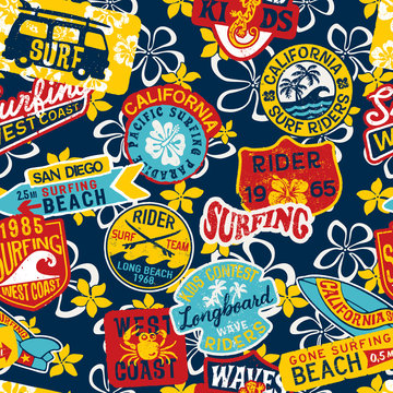BasCalifornia kids surfing rider stickers patchwork with hibiscus background vector seamless patternic CMYK
