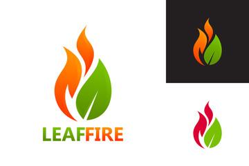 Leaf Fire Logo Template Design Vector, Emblem, Design Concept, Creative Symbol, Icon