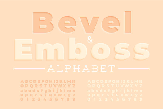 Embossed font and alphabet.