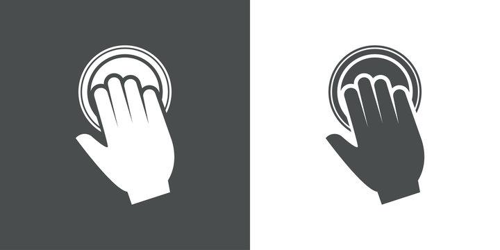 Logotipo mano en boton en gris y blanco
