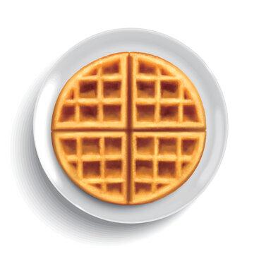 Top view of belgian waffle