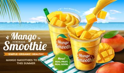 Summer mango smoothie ads