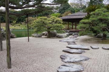 Stepping stones and sand ripple mark in the japanese garden,Takamatsu,Kagawa,Shikoku,Japan