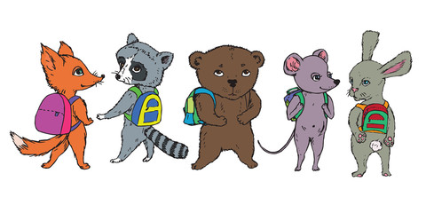 Animals collection: fox, raccoon, bear, mouse and rabbit with school bags on shoulders, hand drawn doodle, sketch, vector color illustration