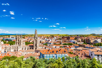 Cityscape of Burgos with its cathedral, Spain