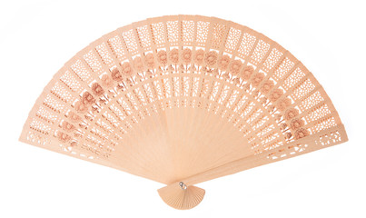 beautiful of wooden fan isolated on white background